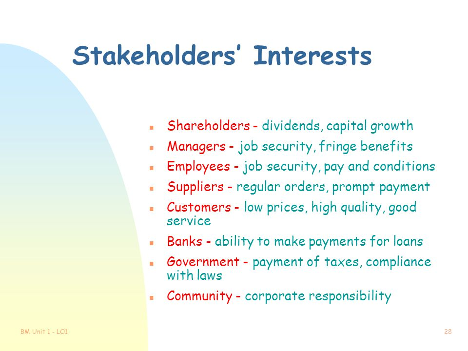 Stakeholders' Interests