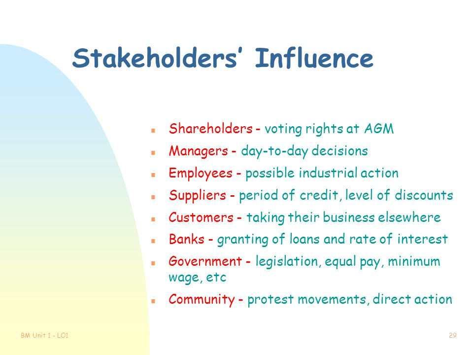 Stakeholders' Influence