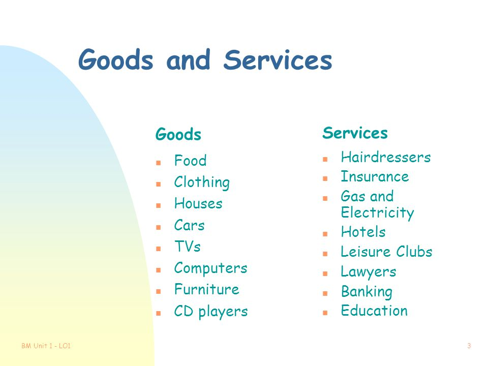 Goods and Services Goods Services Food Hairdressers Insurance Clothing