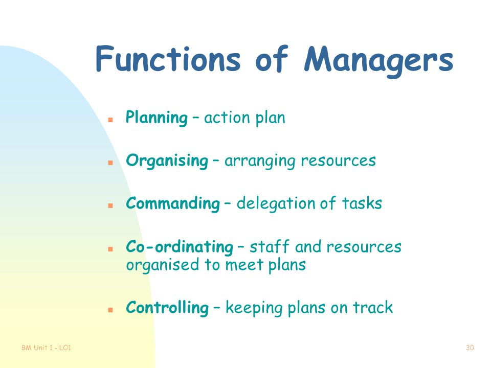 Functions of Managers Planning – action plan