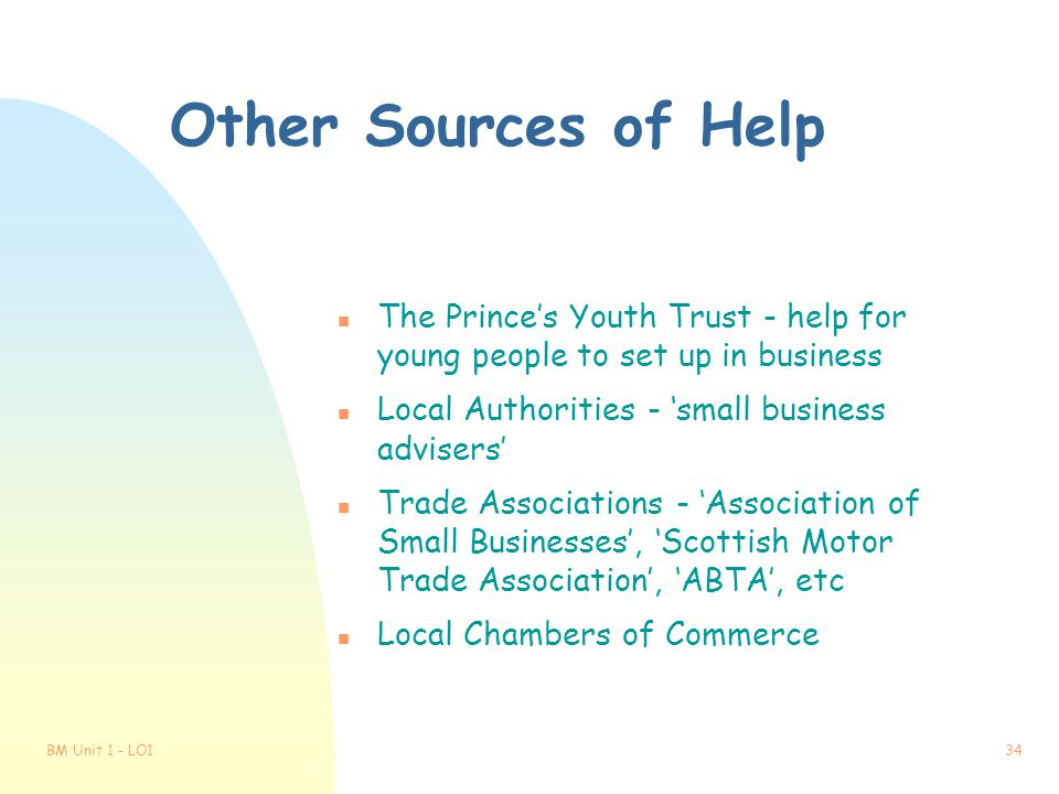 Other Sources of Help The Prince's Youth Trust - help for young people to set up in business. Local Authorities - 'small business advisers'