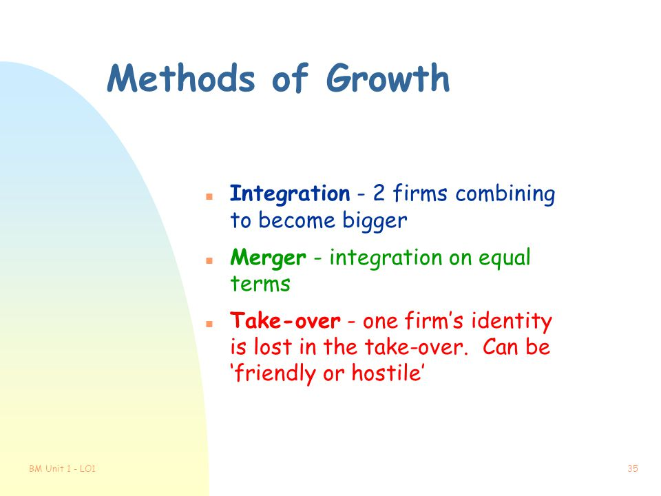 Methods of Growth Integration - 2 firms combining to become bigger