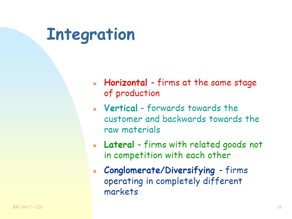Integration Horizontal - firms at the same stage of production