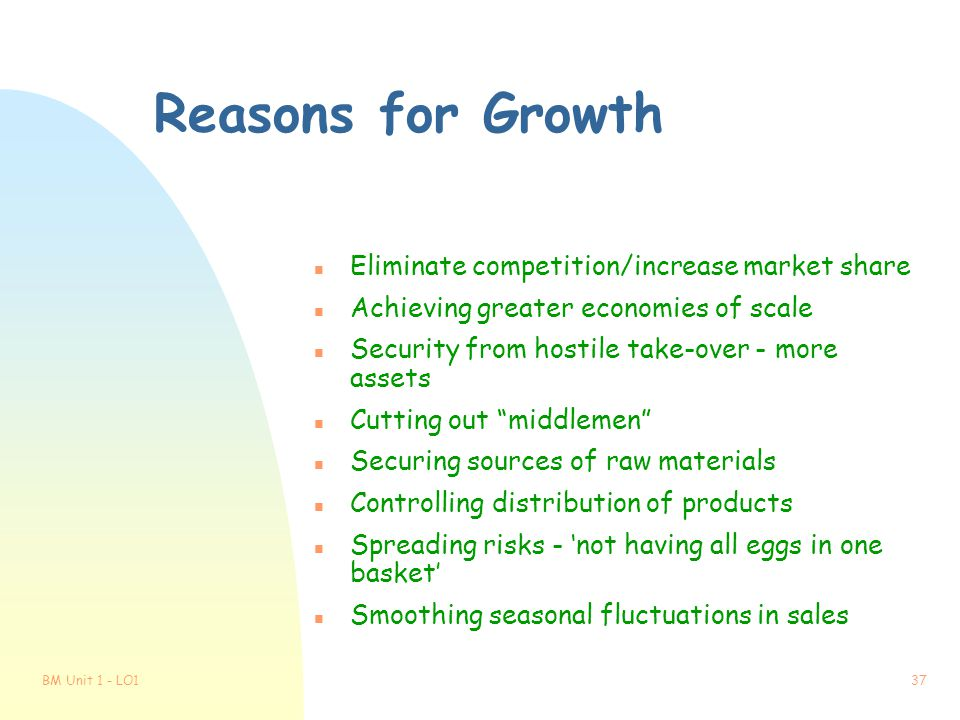 Reasons for Growth Eliminate competition/increase market share