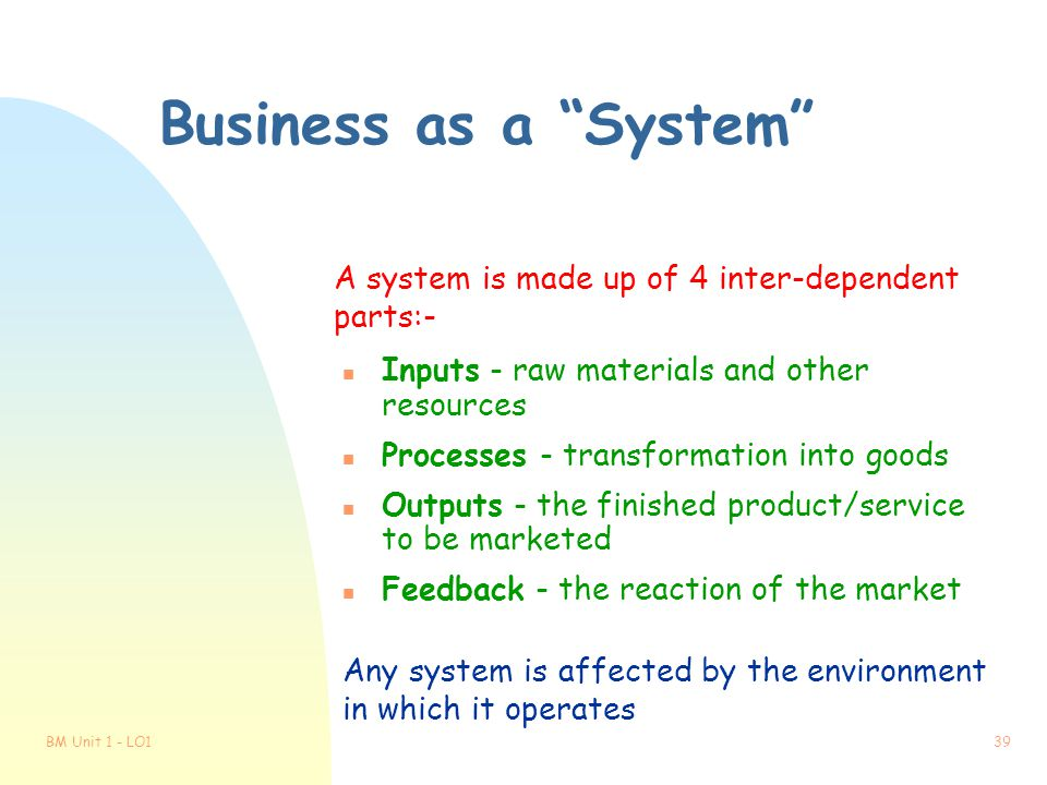 Business as a System A system is made up of 4 inter-dependent parts:- Inputs - raw materials and other resources.
