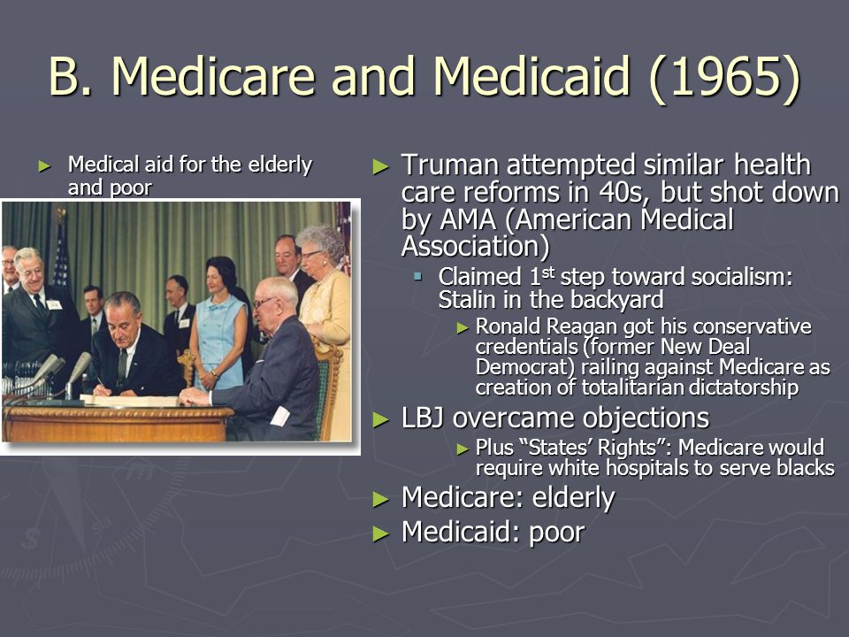 B. Medicare and Medicaid (1965)