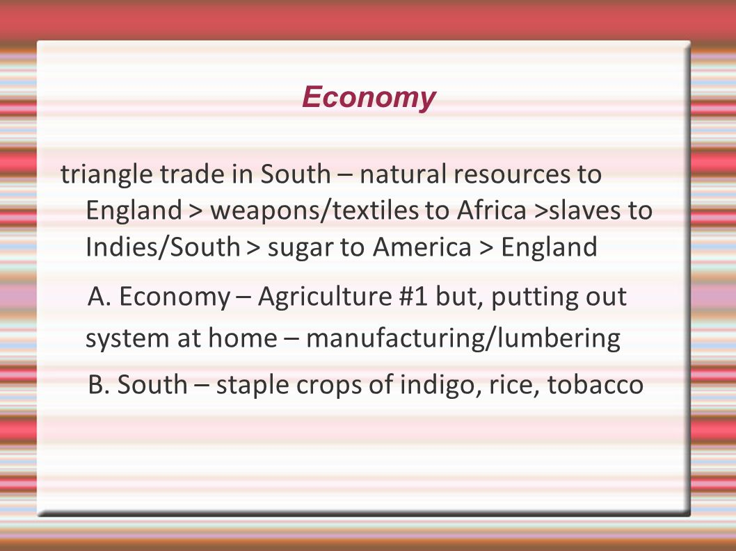 Economy triangle trade in South – natural resources to England > weapons/textiles to Africa >slaves to Indies/South > sugar to America > England.