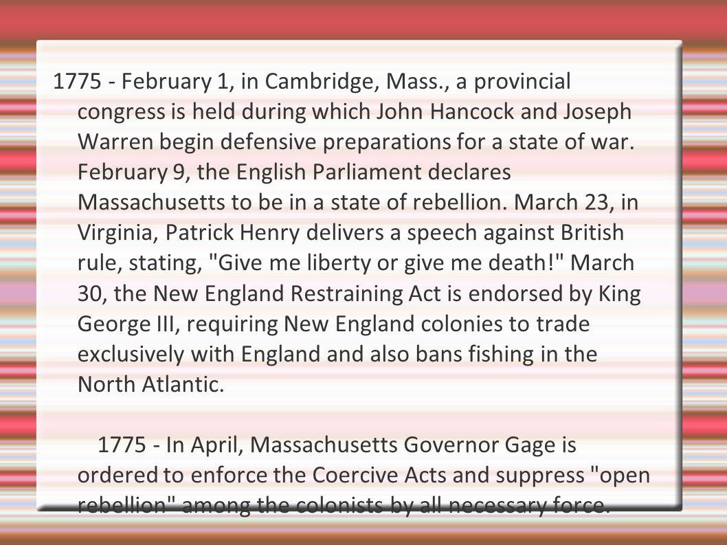 1775 - February 1, in Cambridge, Mass