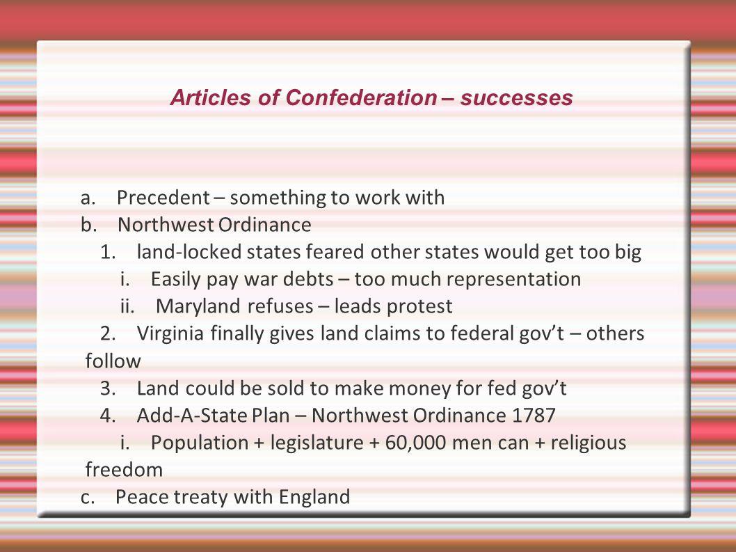 Articles of Confederation – successes