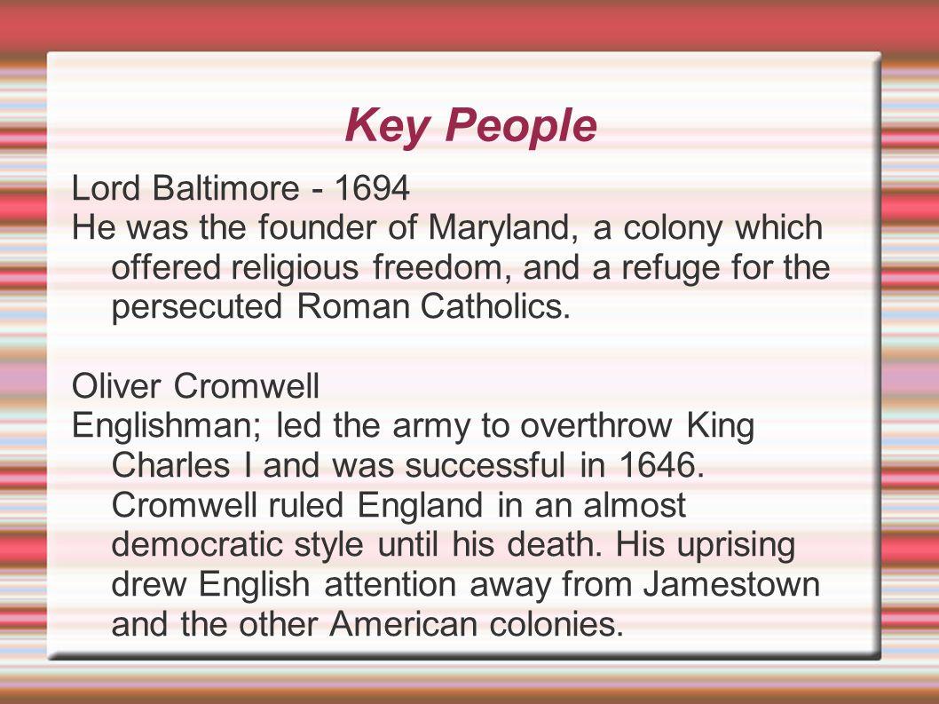 Key People Lord Baltimore - 1694