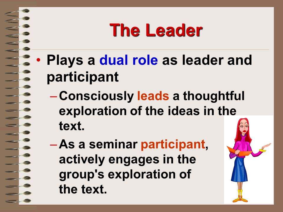 The Leader Plays a dual role as leader and participant