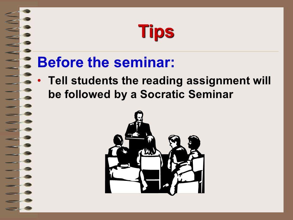Tips Before the seminar: