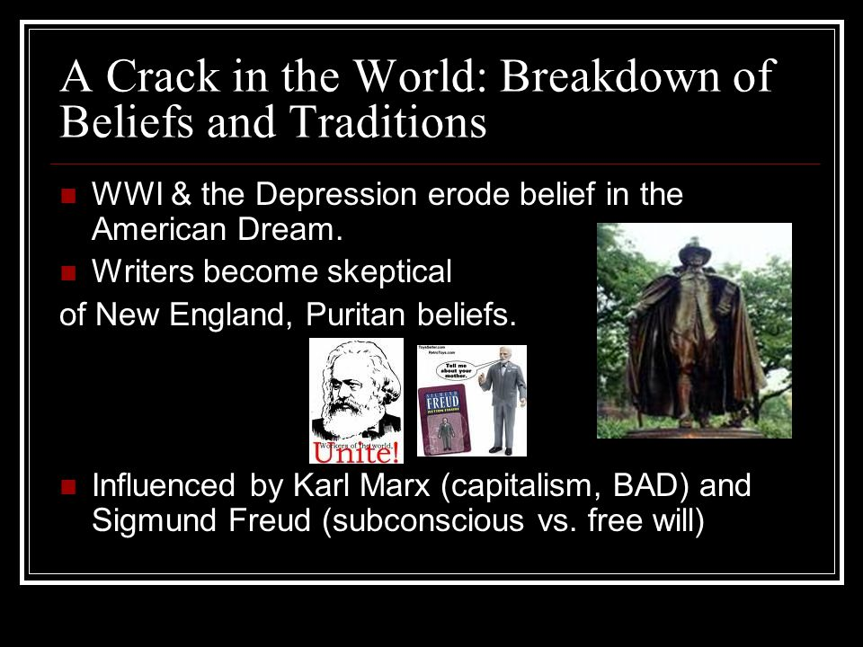 A Crack in the World: Breakdown of Beliefs and Traditions