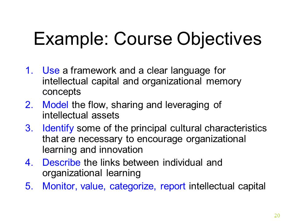 Example: Course Objectives