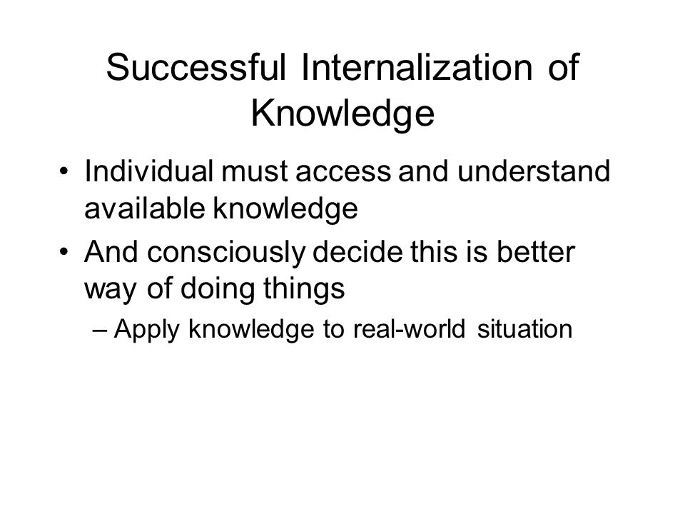 Successful Internalization of Knowledge