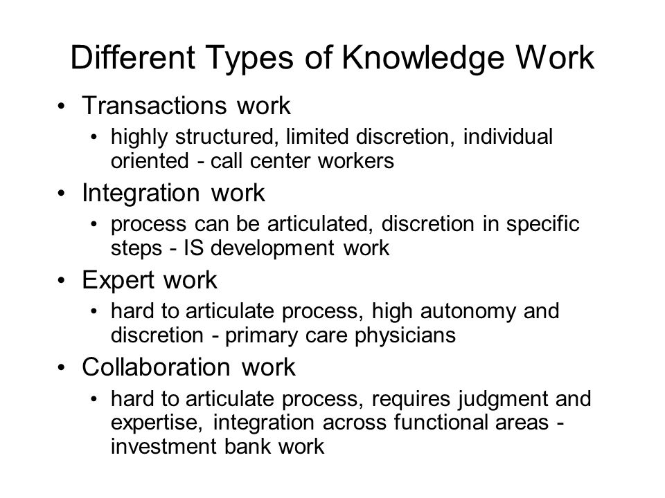 Different Types of Knowledge Work