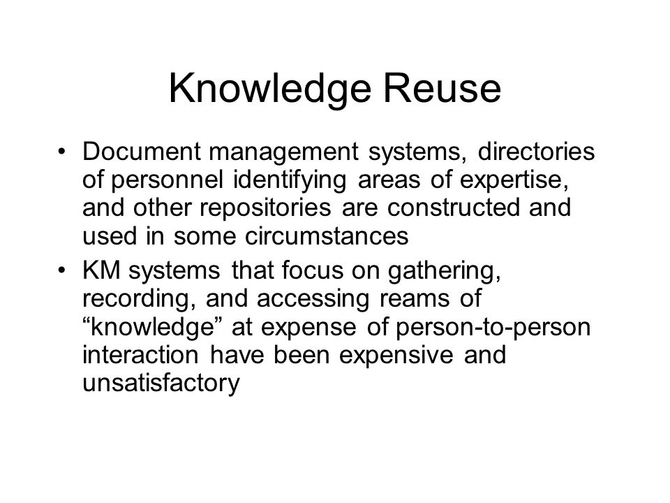 Knowledge Reuse