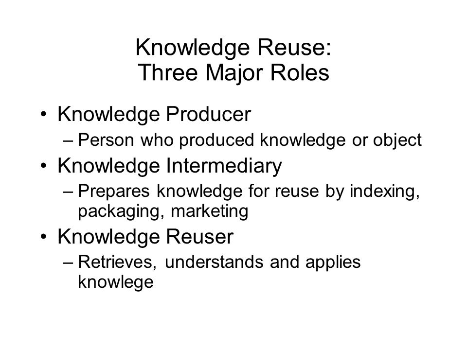 Knowledge Reuse: Three Major Roles