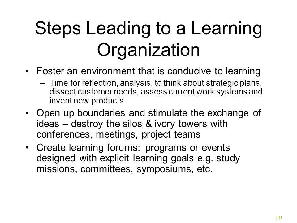 Steps Leading to a Learning Organization