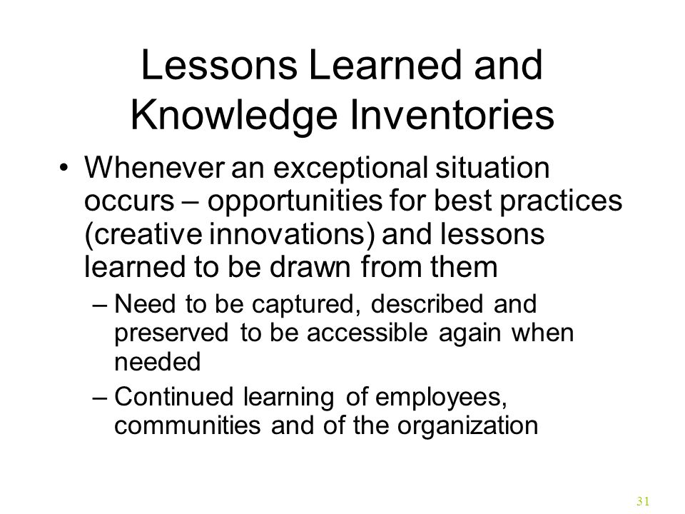 Lessons Learned and Knowledge Inventories