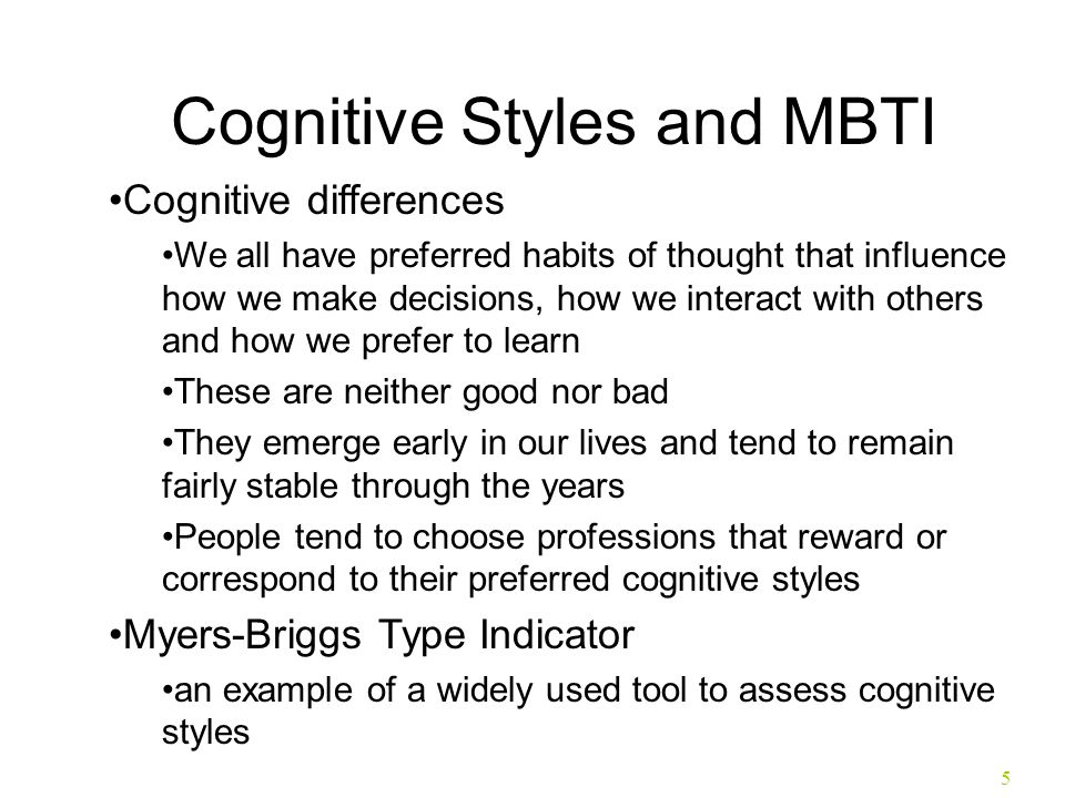 Cognitive Styles and MBTI