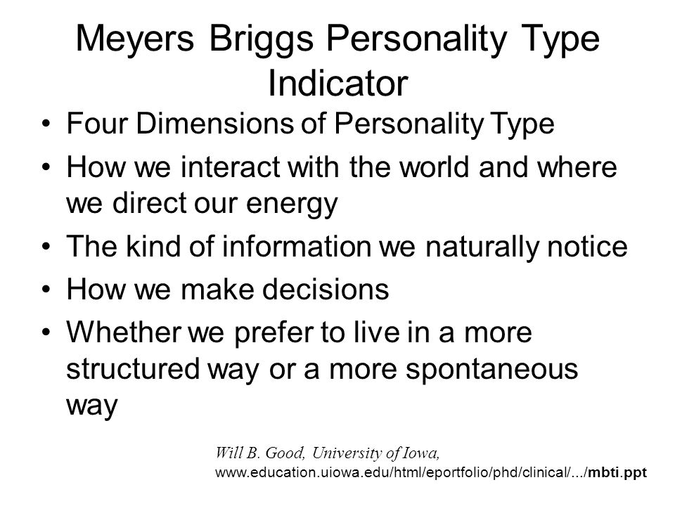 Meyers Briggs Personality Type Indicator