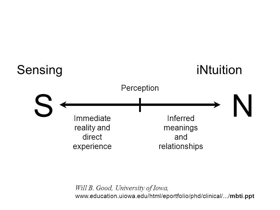 S N Sensing iNtuition Perception