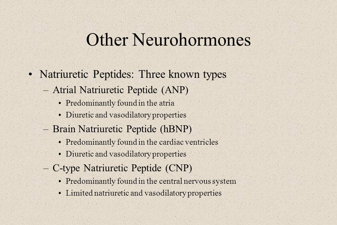 Other Neurohormones Natriuretic Peptides: Three known types