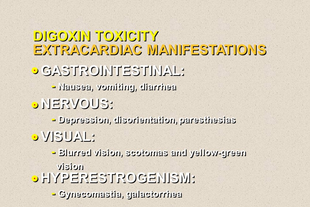 DIGOXIN TOXICITY EXTRACARDIAC MANIFESTATIONS