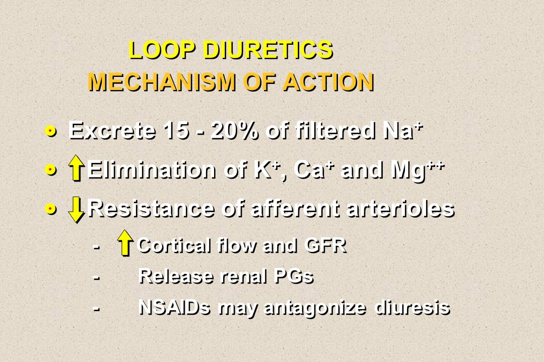 LOOP DIURETICS MECHANISM OF ACTION