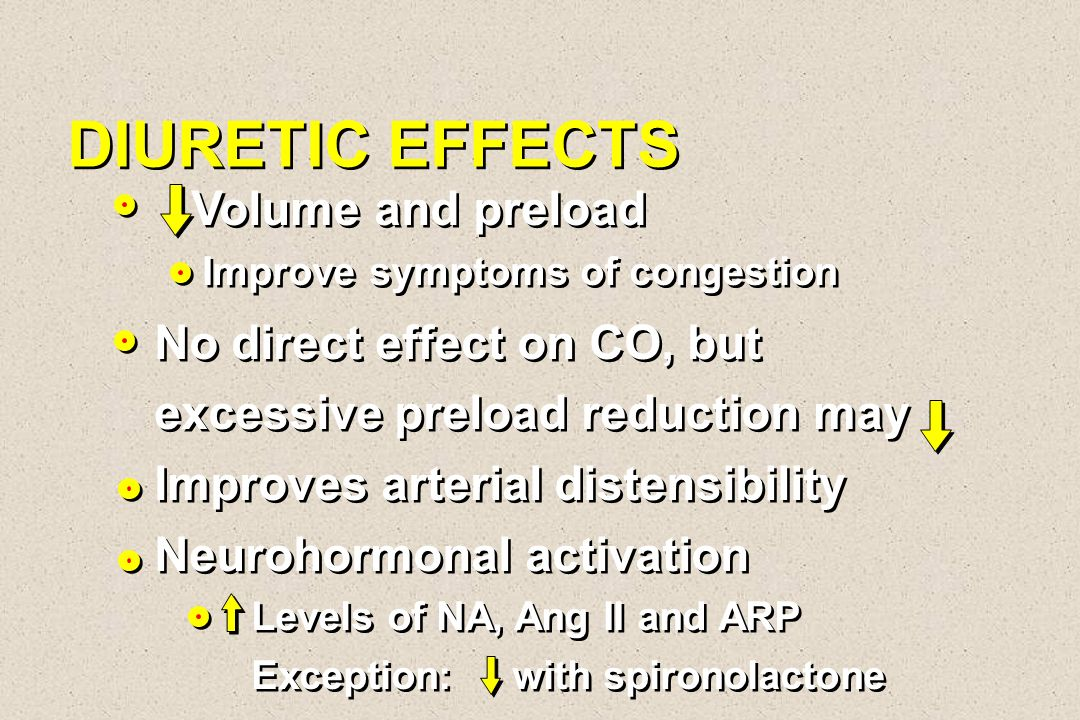 DIURETIC EFFECTS Volume and preload No direct effect on CO, but