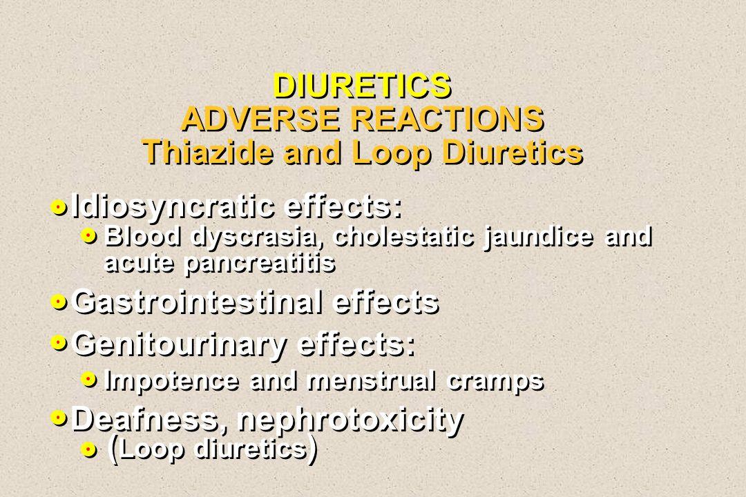 DIURETICS ADVERSE REACTIONS Thiazide and Loop Diuretics