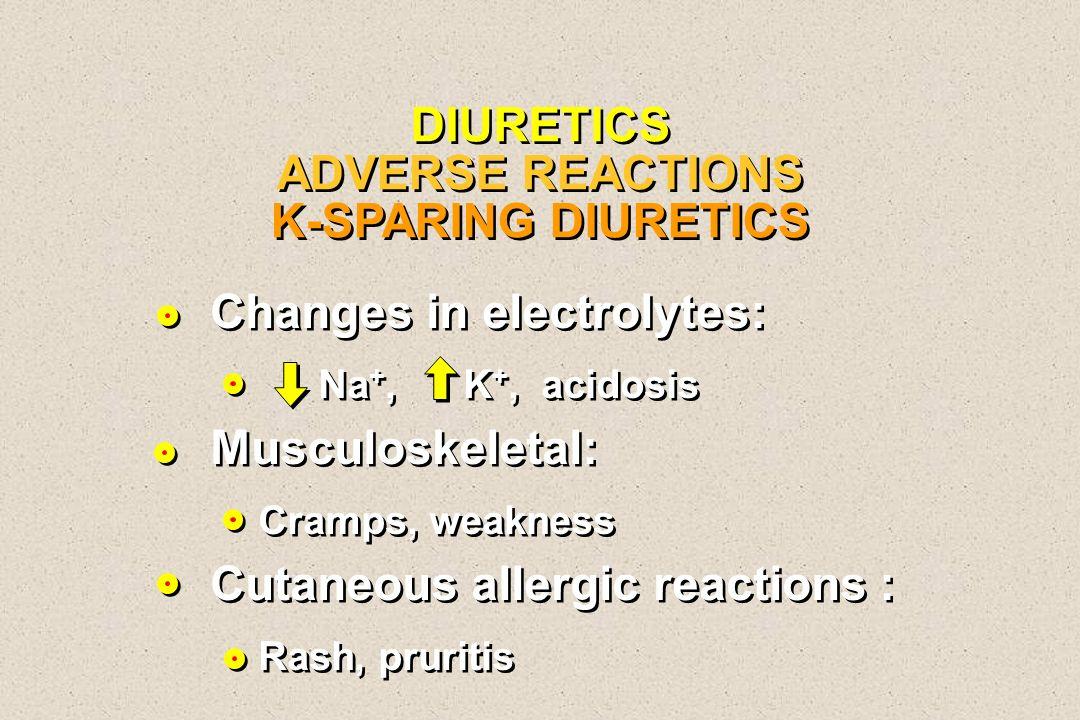 DIURETICS ADVERSE REACTIONS