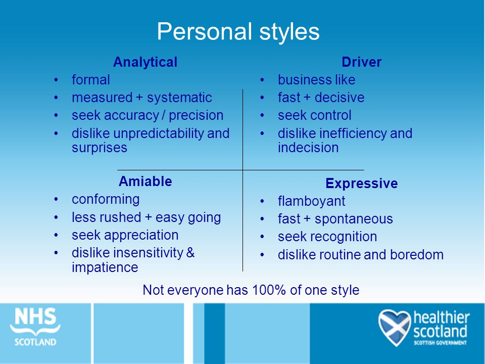 Personal styles Analytical formal measured + systematic