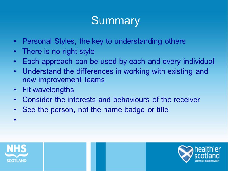 Summary Personal Styles, the key to understanding others