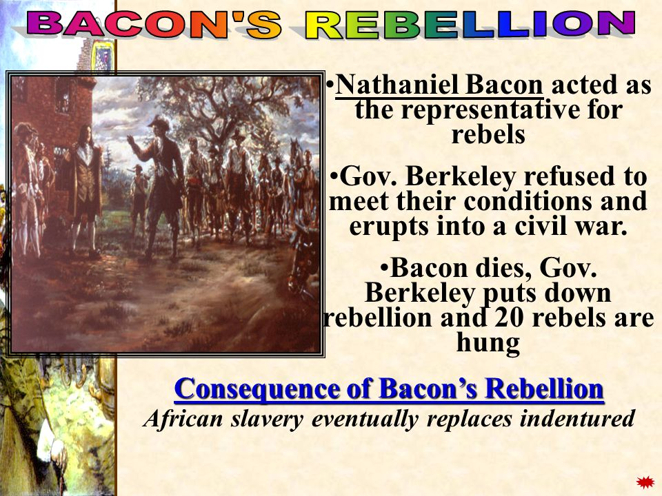 BACON S REBELLION Nathaniel Bacon acted as the representative for rebels.