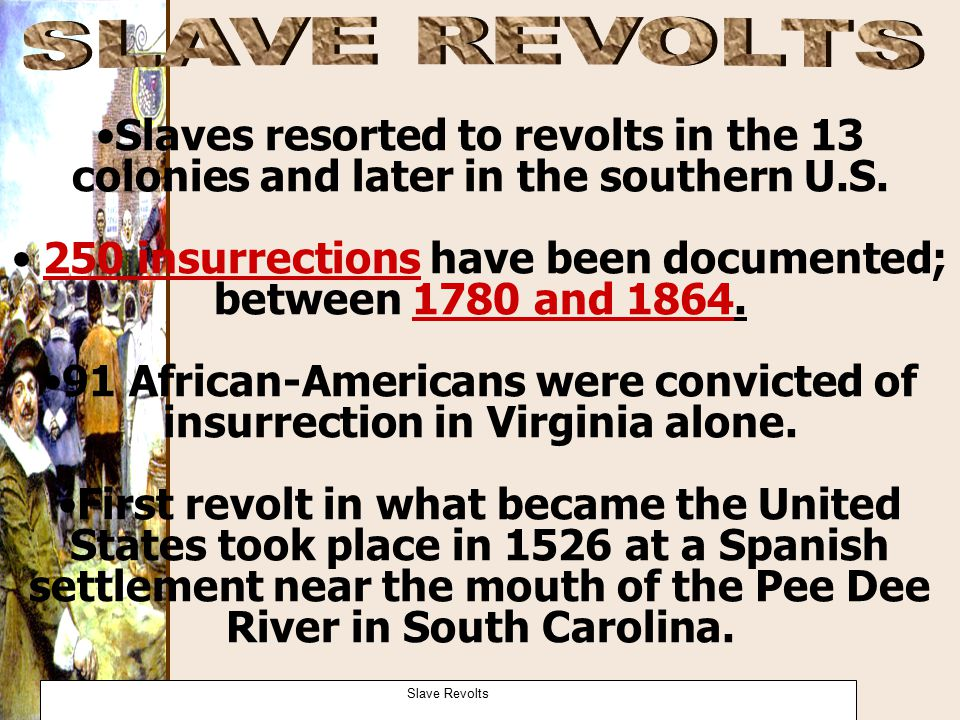 SLAVE REVOLTS Slaves resorted to revolts in the 13 colonies and later in the southern U.S.