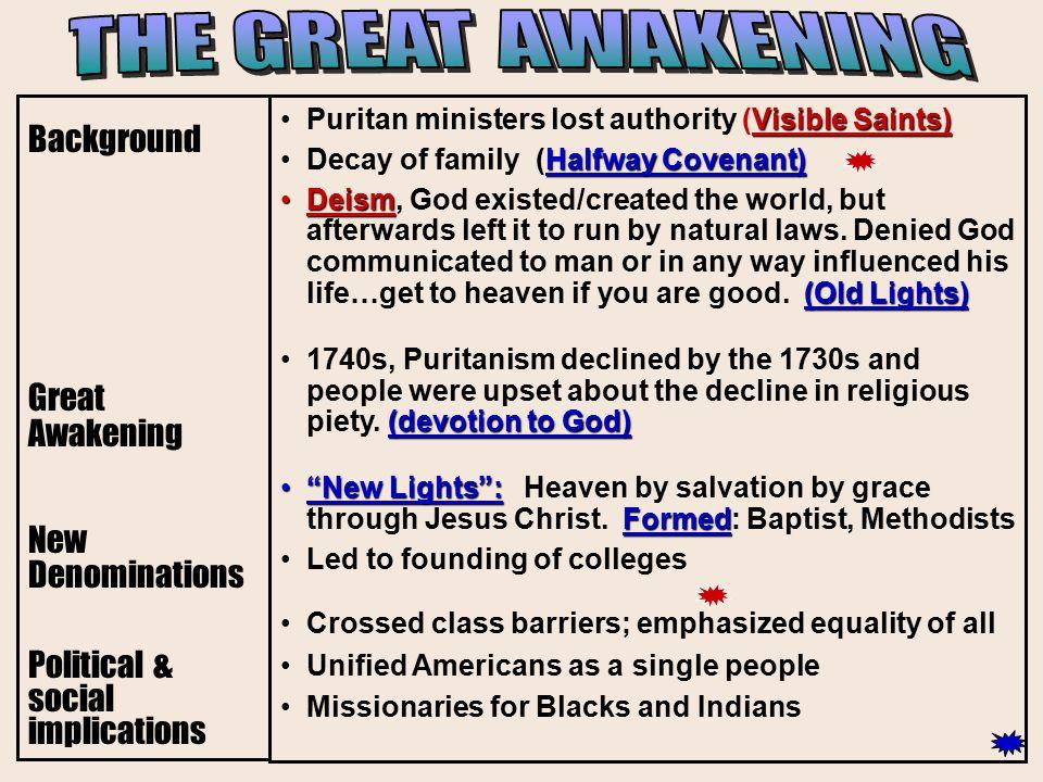 THE GREAT AWAKENING Background Great Awakening New Denominations
