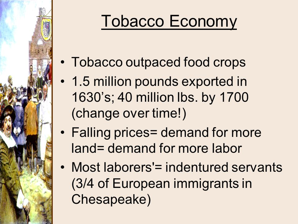 Tobacco Economy Tobacco outpaced food crops
