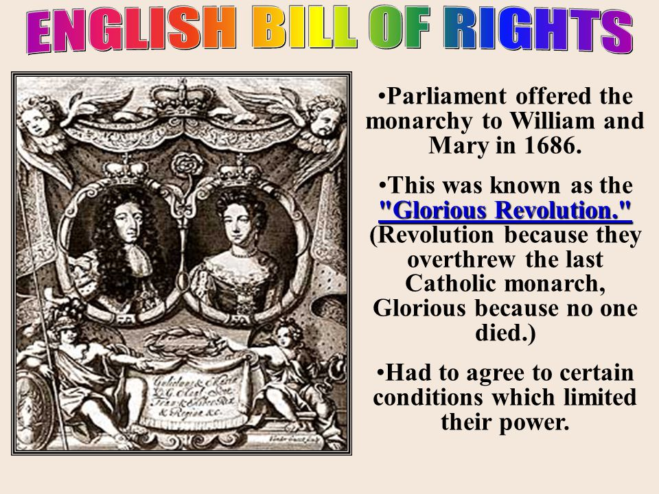 ENGLISH BILL OF RIGHTS Parliament offered the monarchy to William and Mary in 1686.