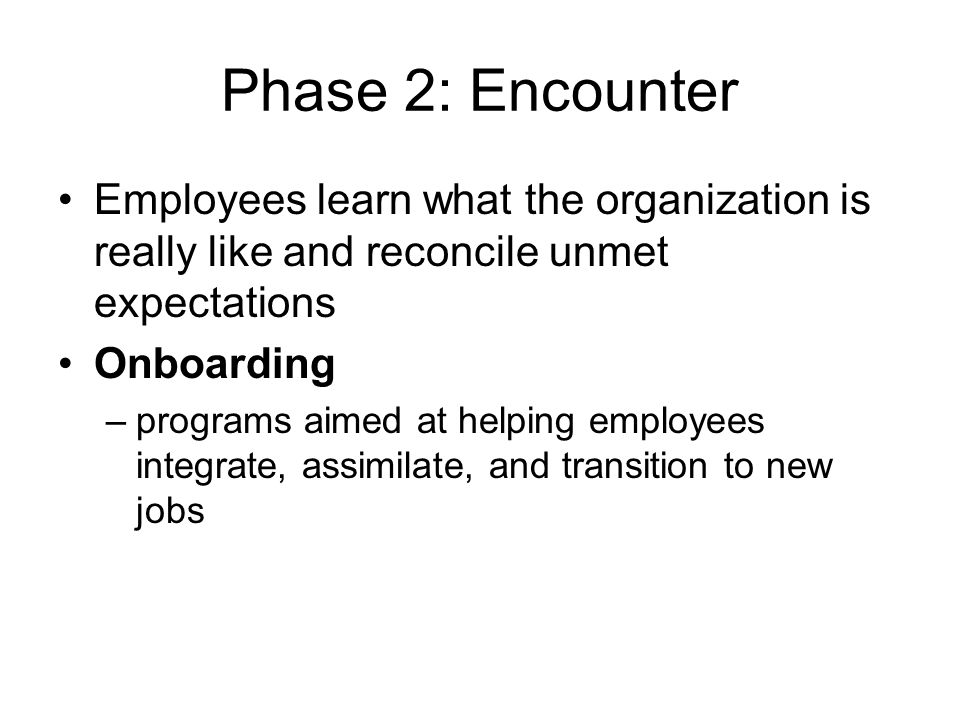 Phase 2: Encounter Employees learn what the organization is really like and reconcile unmet expectations.