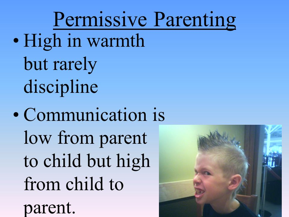 Permissive Parenting High in warmth but rarely discipline