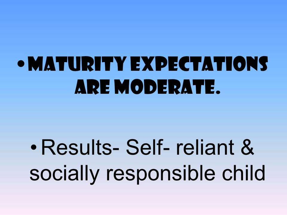 Results- Self- reliant & socially responsible child