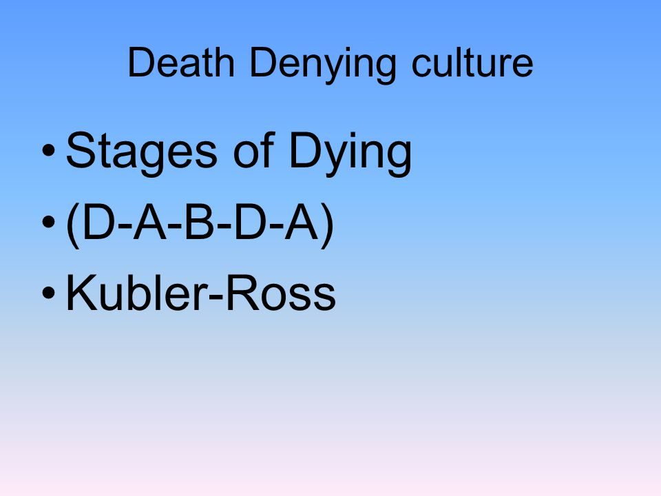 Death Denying culture Stages of Dying (D-A-B-D-A) Kubler-Ross