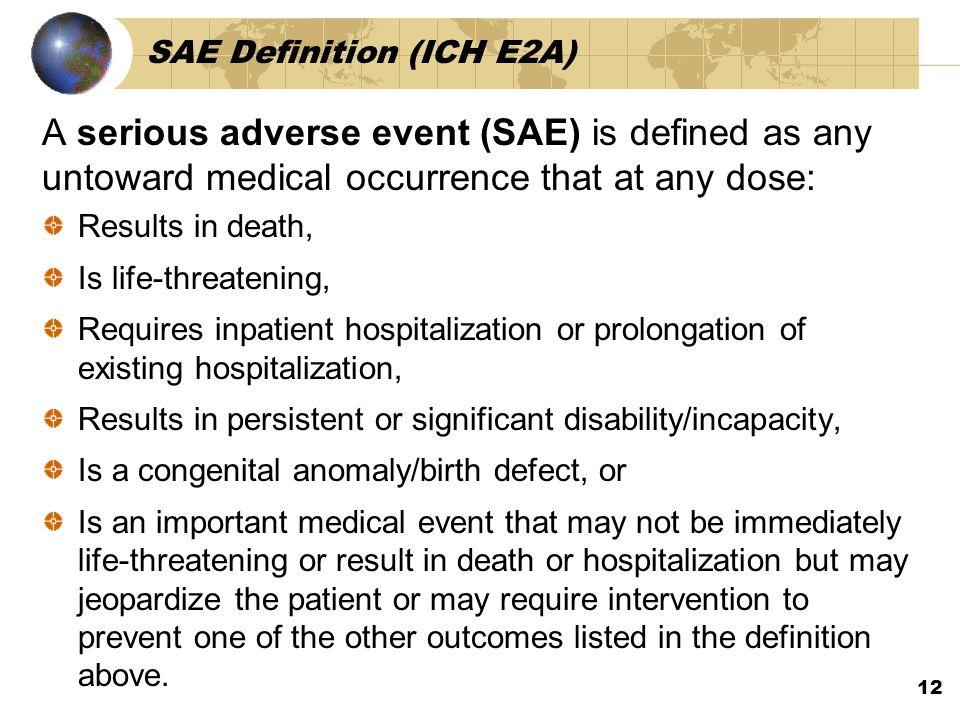 SAE Definition (ICH E2A)