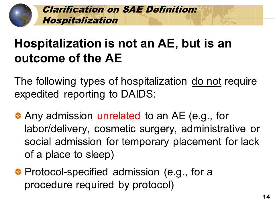 Clarification on SAE Definition: Hospitalization