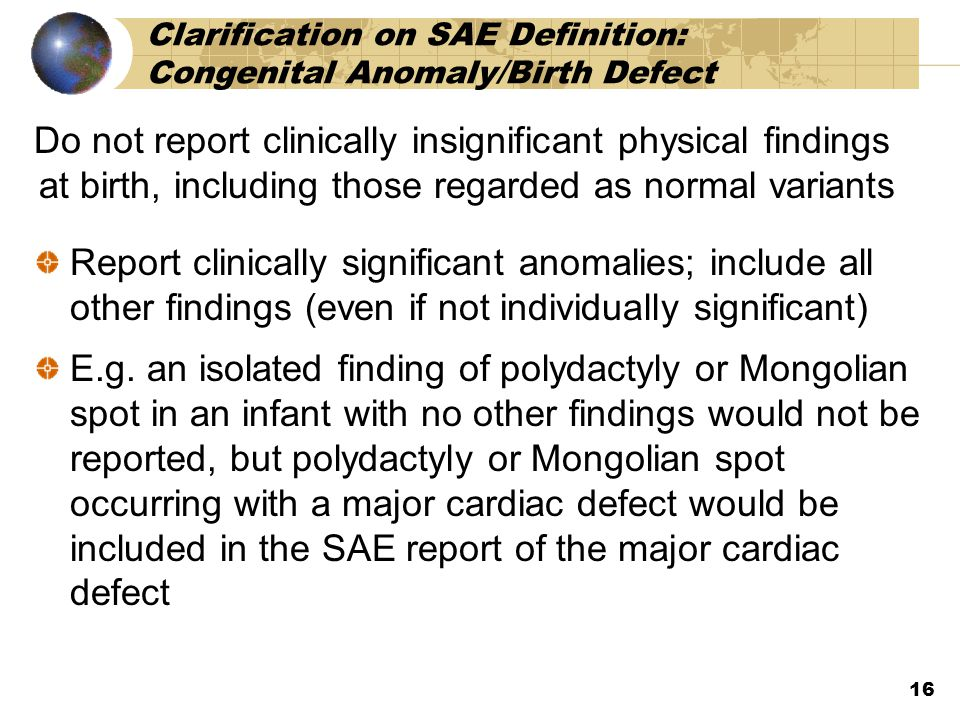 Clarification on SAE Definition: Congenital Anomaly/Birth Defect