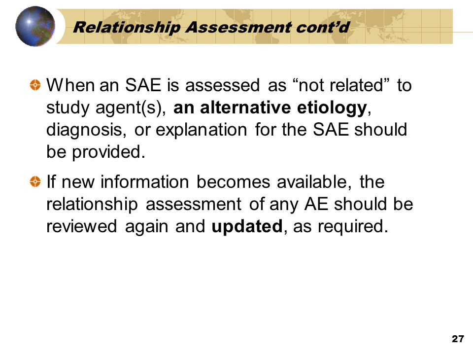 Relationship Assessment cont'd