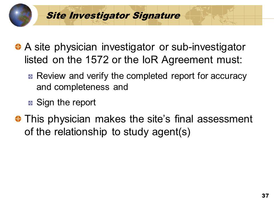 Site Investigator Signature