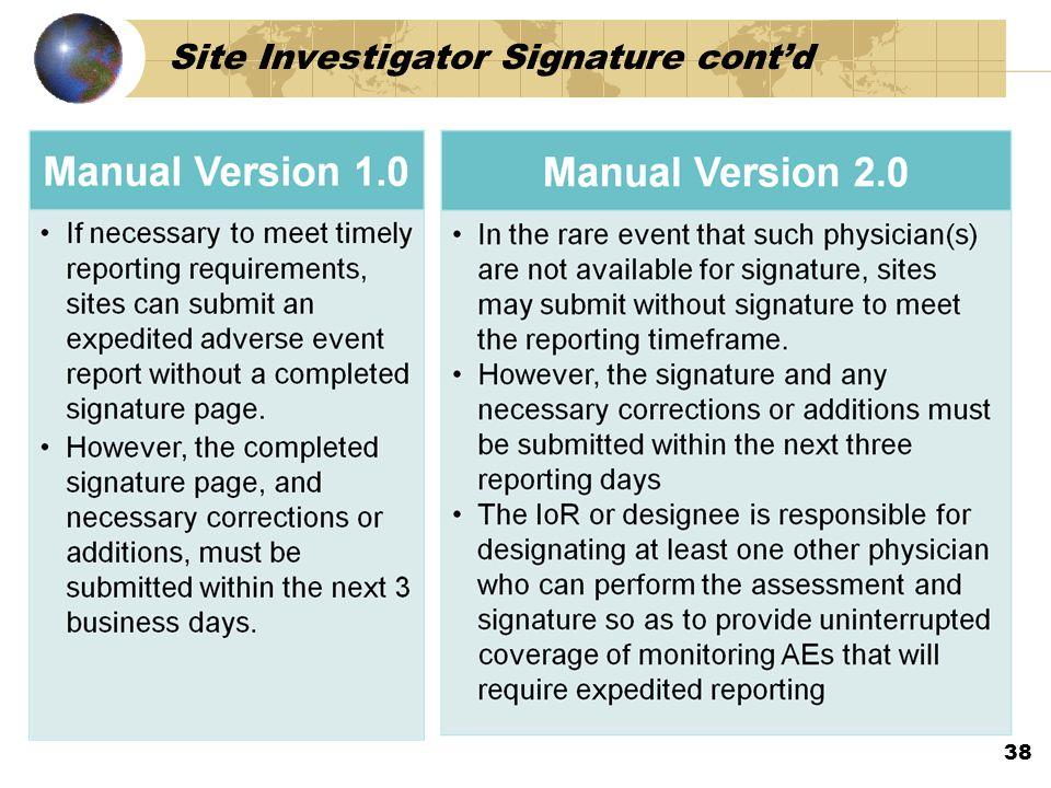 Site Investigator Signature cont'd